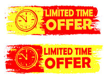 Limited time offer with clock sign, yellow and red drawn labels Stock Photo
