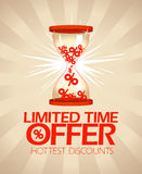 Limited time offer design with hourglass. Royalty Free Stock Photo