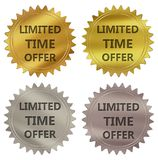 Limited time offer guarantee label. Limited time offer 3d rendered 4 color tag , golden guarantee label stock illustration