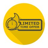 Limited Time Offer icon with long shadow. Vector icon Stock Photos