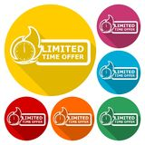 Limited Time Offer icons set with long shadow. Vector icon stock illustration