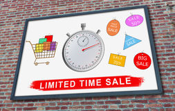 Limited time sale concept on a billboard. Limited time sale concept drawn on a billboard fixed on a brick wall Stock Photos