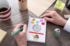 Limited time sale concept on a notepad. Limited time sale concept drawn on a notepad Royalty Free Stock Image