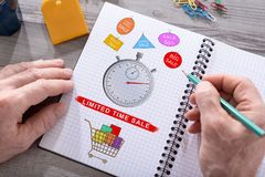 Limited time sale concept on a notepad. Limited time sale concept drawn on a notepad placed on a desk Royalty Free Stock Photo