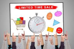 Limited time sale concept on a whiteboard. Pointed by several fingers royalty free stock photos