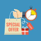 Limited time special offer concept. Flat design stylish. Stock Photo