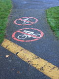 Limited usage pathway. Paved pathway with painted signs indicating no cycling or skating permitted Royalty Free Stock Photography