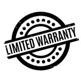 Limited Warranty rubber stamp. Grunge design with dust scratches. Effects can be easily removed for a clean, crisp look. Color is easily changed Stock Photo