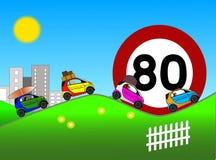 Limitez la vitesse à 80 km/h sur la route de vacances illustration de vecteur
