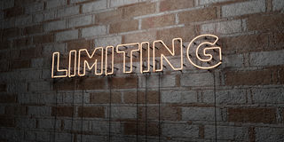 LIMITING - Glowing Neon Sign on stonework wall - 3D rendered royalty free stock illustration. Can be used for online banner ads and direct mailers Royalty Free Stock Images