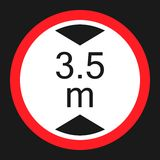 Limiting height prohibition sign flat icon. Limiting height prohibition flat icon, Traffic and road sign, vector graphics, a solid pattern on a black background Stock Photo