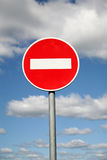 Limiting traffic sign. Against the sky with clouds Royalty Free Stock Photos