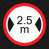 Limiting width sign flat icon. Limiting width flat icon, Traffic and road sign, vector graphics, a solid pattern on a black background, eps 10 Stock Photography