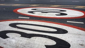Limits Do Not Drive Speed Cars 30 Km Symbol Painted On The Street Stock Photo