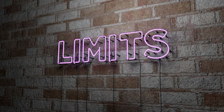 LIMITS - Glowing Neon Sign on stonework wall - 3D rendered royalty free stock illustration Stock Images