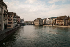 Limmat embankment in Zurich Royalty Free Stock Image
