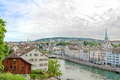 Limmat with  Limmatquai, downtown Zurich, Switzerland Stock Photo