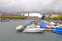 Limmat River and Downtown Zurich, Switzerland Royalty Free Stock Photo