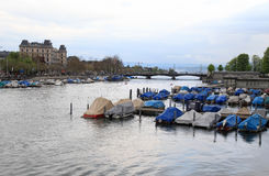 Limmat river in dusk, Zurich Stock Photography