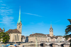 Limmat river and famous Zurich churches, switzerland Royalty Free Stock Photography