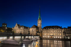 Limmat river and famous Zurich churches Stock Image