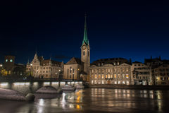 Limmat river and famous Zurich churches Royalty Free Stock Images