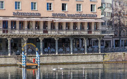 Limmat river and Hotel zum Storchen building Royalty Free Stock Photography
