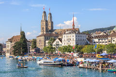 Limmat river and Limmatquai quay during the Street Parade Stock Photo