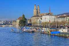 Limmat river and the Limmatquai quay Stock Photography
