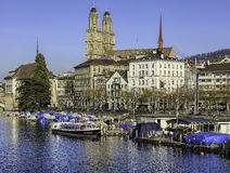 The Limmat river and the Limmatquai quay in Zurich Stock Photo