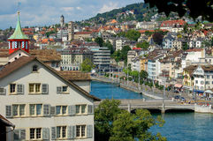 Limmat River from Lindenhof - Zurich Royalty Free Stock Photo