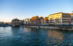 Limmat River in Zurich Royalty Free Stock Photos