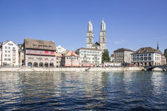 Limmat riverside in Zurich Stock Photo