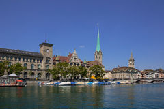 Limmat riverside in Zurich Royalty Free Stock Image