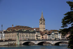 Limmat riverside in Zurich Stock Images