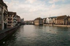 Limmatdijk in Zürich Royalty-vrije Stock Afbeelding