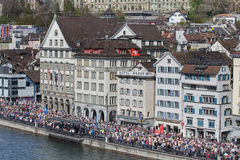 Limmatquai quay during the Sechselauten parade Stock Image