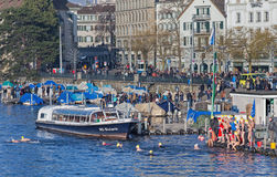 Limmatquai quay during the Zurich Samichlaus-Schwimmen event Stock Photos