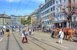 Limmatquai quay in Zurich before the Sechselauten parade Royalty Free Stock Images