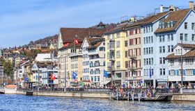Limmatquai quay in Zurich during the spring holiday parade Royalty Free Stock Photography
