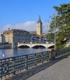 Limmatquai quay in Zurich Royalty Free Stock Photos