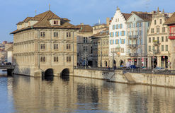Limmatquai quay in Zurich, Switzerland Royalty Free Stock Photography
