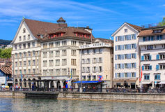 Limmatquai quay in Zurich, Switzerland Stock Image