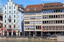 Limmatquai quay in Zurich, Switzerland Royalty Free Stock Photos
