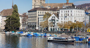 Limmatquai quay in Zurich Royalty Free Stock Photo