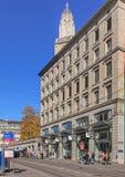 Limmatquai quay in Zurich Stock Photos