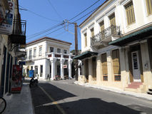 Limni in Greece. A typical architecture of the town of Limni. Island of Evia, Greece Stock Image