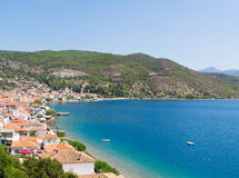 Limni village at Euboea in Greece. Panoramic view. Stock Photography