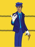 Limo driver. Hand drawn illustration of a limo driver with white gloves over a yellow background with taxi tiles Royalty Free Stock Images