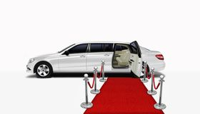 Limo and red carpet. With open rear door Stock Photos
